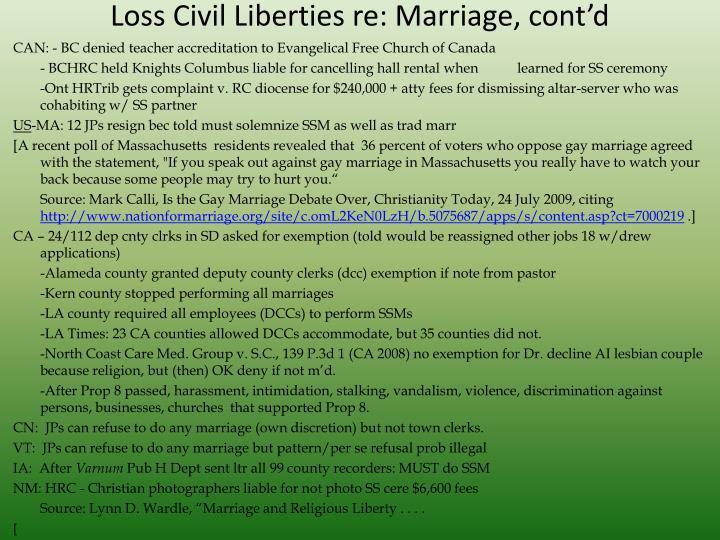 Loss Civil Liberties re: Marriage, cont'd