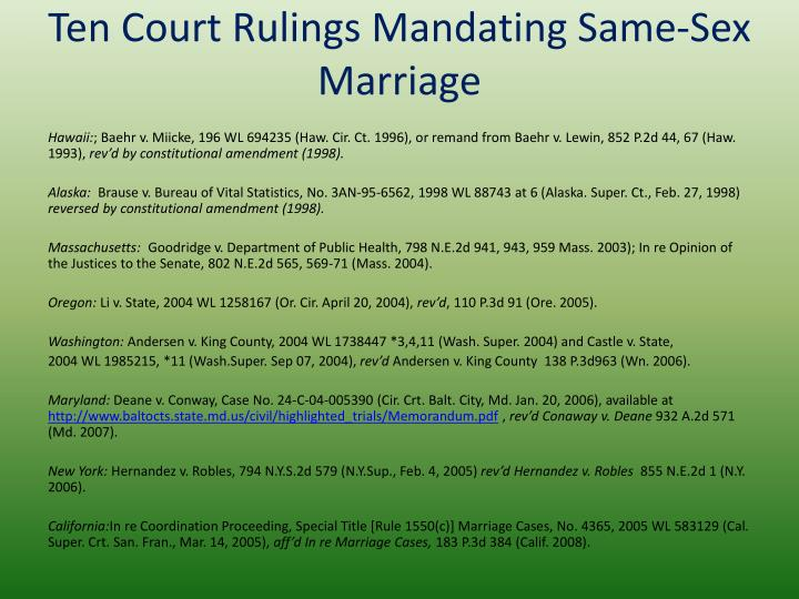 Ten Court Rulings Mandating Same-Sex Marriage