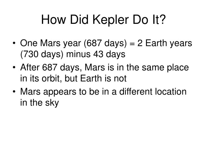 How Did Kepler Do It?