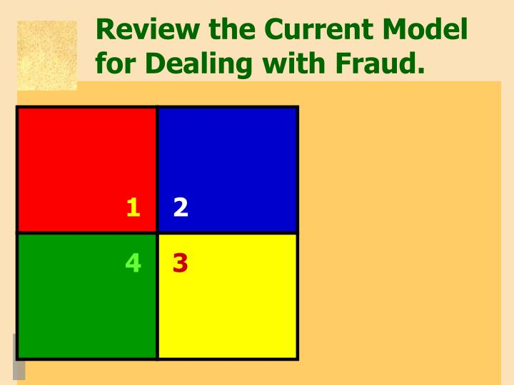 Review the Current Model for Dealing with Fraud.