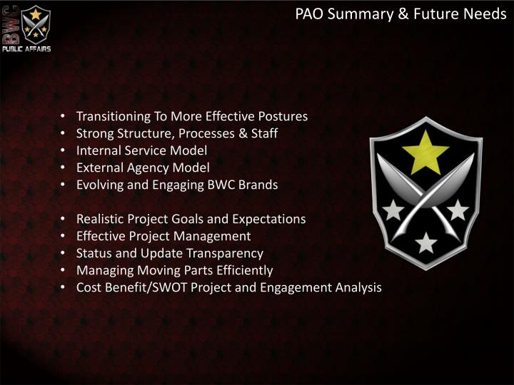 PAO Summary & Future Needs