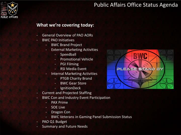 Public Affairs Office Status Agenda
