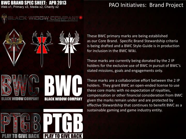 PAO Initiatives:  Brand Project