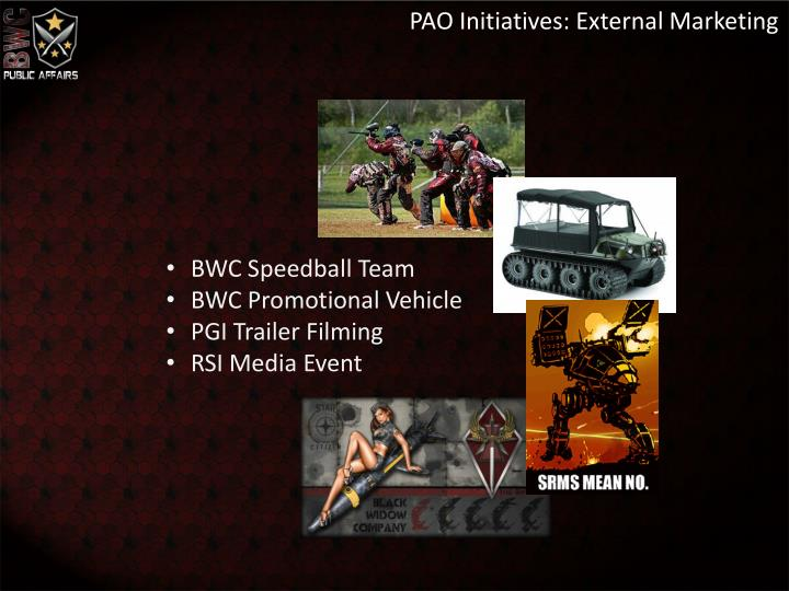 PAO Initiatives: External Marketing