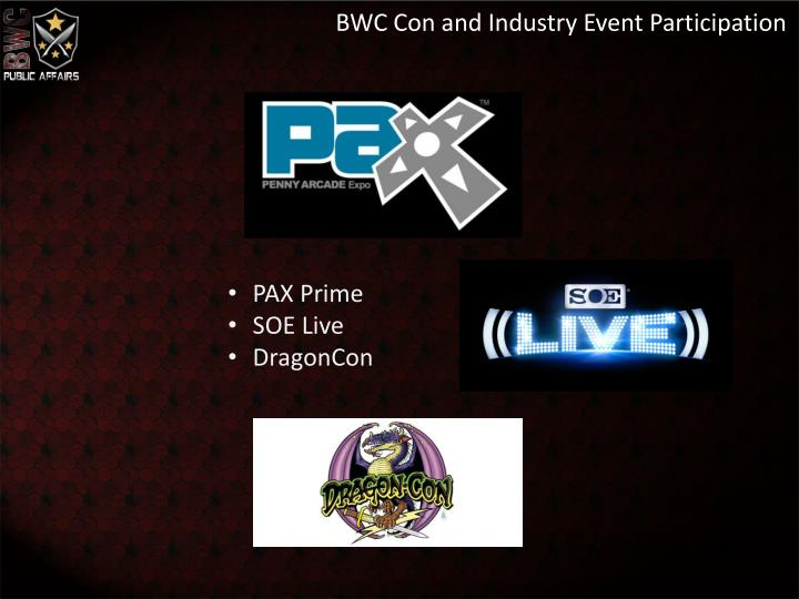 BWC Con and Industry Event Participation