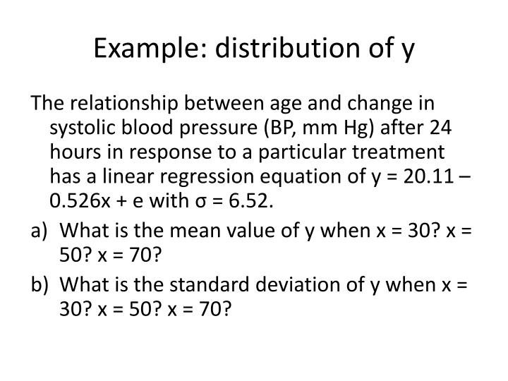 Example distribution of y