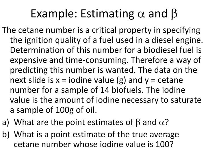Example estimating and