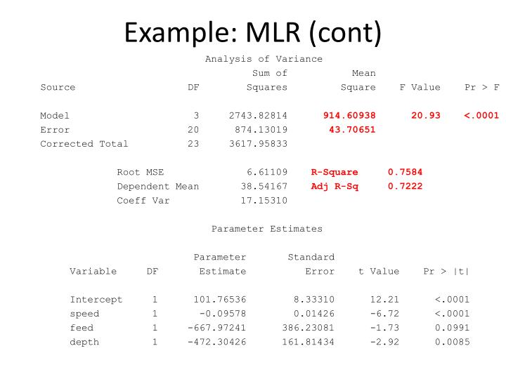 Example: MLR (cont)