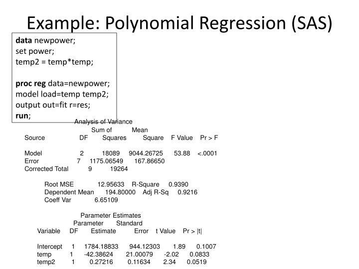 Example: Polynomial Regression (SAS)