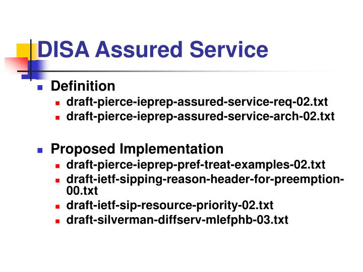 DISA Assured Service