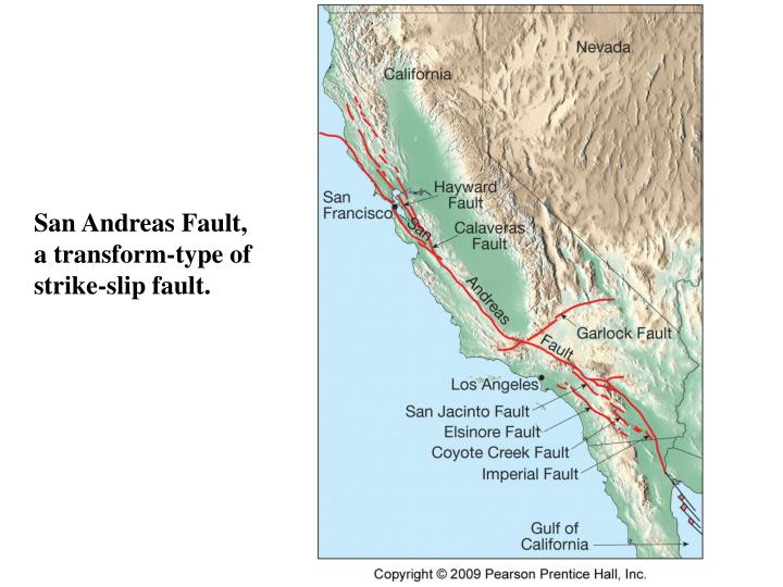 San Andreas Fault,   a transform-type of strike-slip fault.