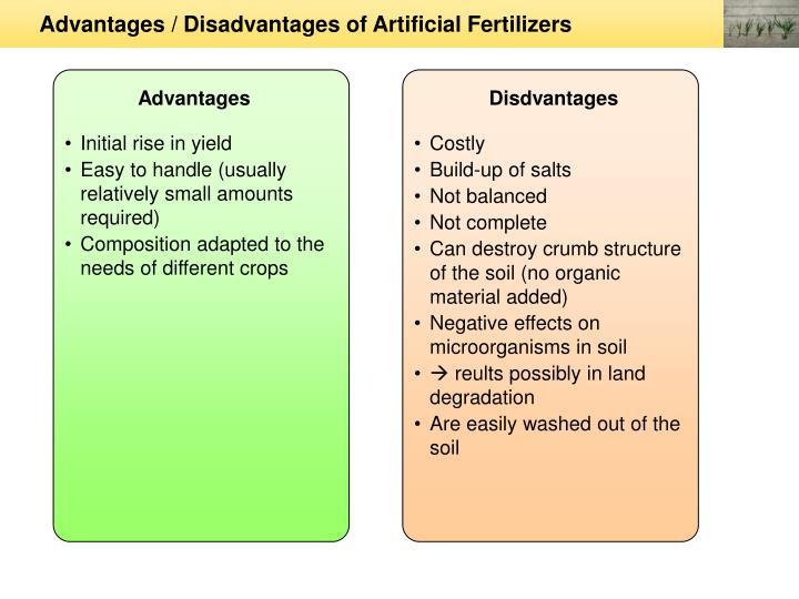 Advantages / Disadvantages of Artificial Fertilizers