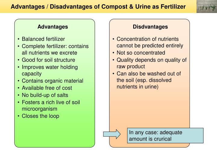 Advantages / Disadvantages of Compost & Urine as Fertilizer