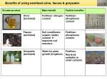 benefits of using sanitised urine faeces greywater