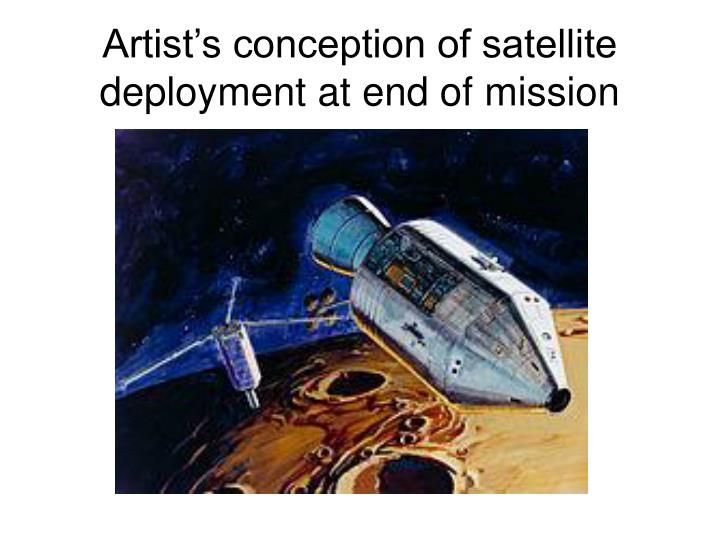 Artist's conception of satellite deployment at end of mission