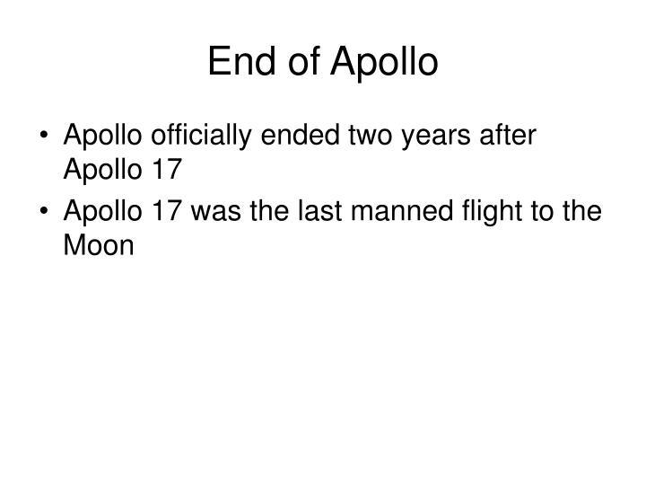 End of Apollo