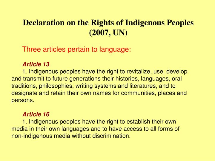 Declaration on the rights of indigenous peoples 2007 un