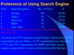 preference of using search engine