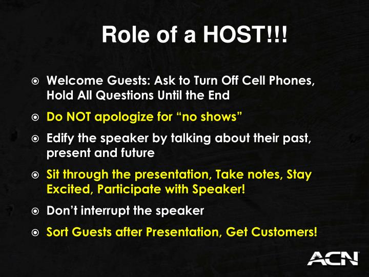 Role of a HOST!!!