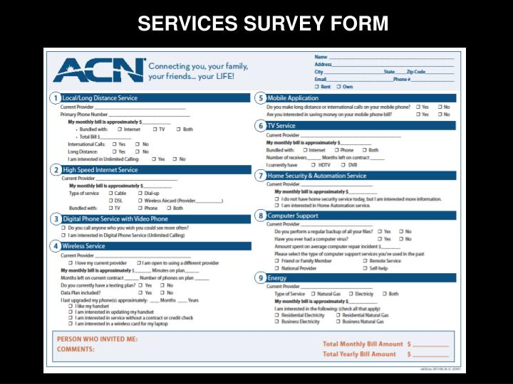 SERVICES SURVEY FORM