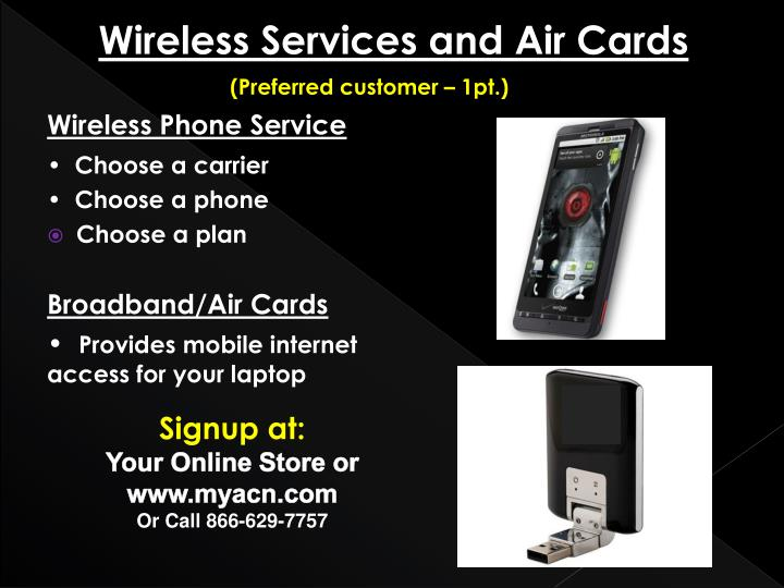 Wireless Services and Air Cards