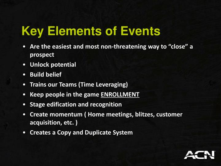 Key Elements of Events