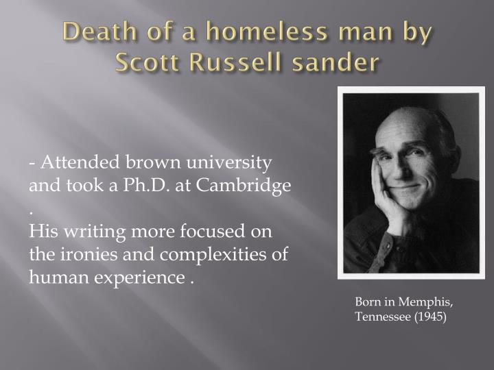 Death of a homeless man by scott russell sander