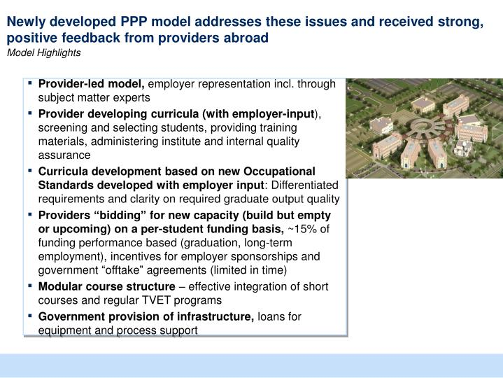 Newly developed PPP model addresses these issues and received strong, positive feedback from providers abroad