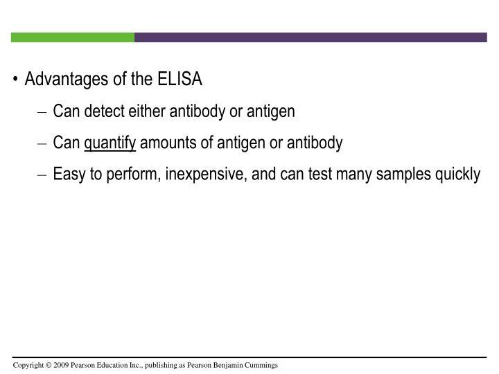 Advantages of the ELISA