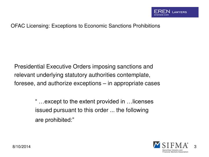 Ofac licensing exceptions to economic sanctions prohibitions2