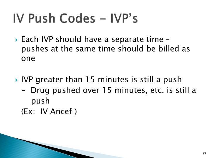 IV Push Codes - IVP's