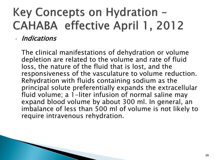 Key Concepts on Hydration – CAHABA  effective April 1, 2012