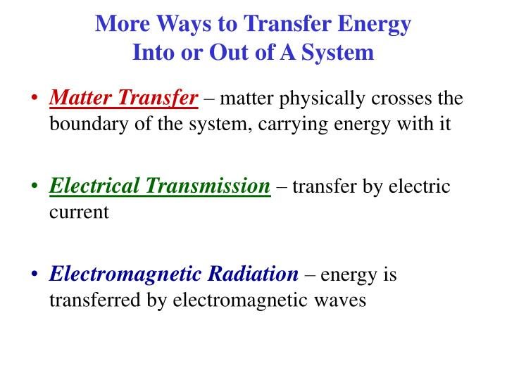 More Ways to Transfer Energy