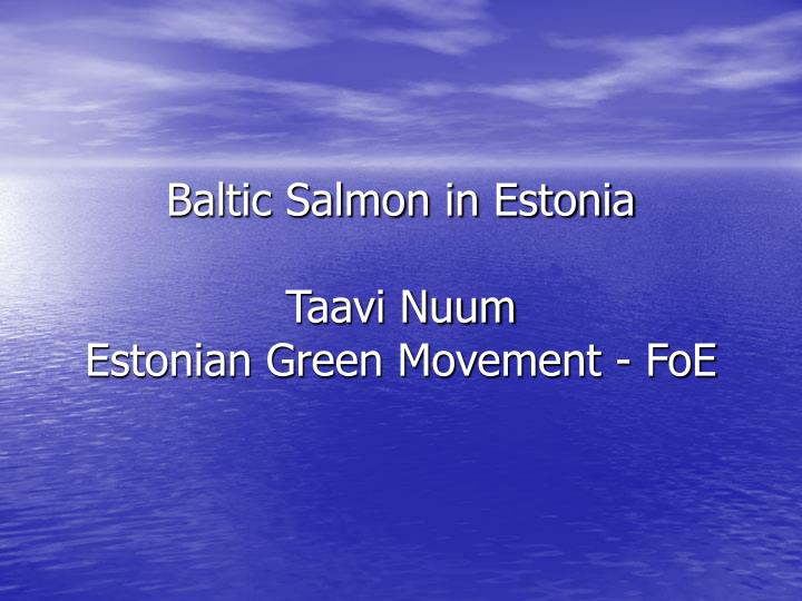 Baltic salmon in estonia taavi nuum estonian green movement foe