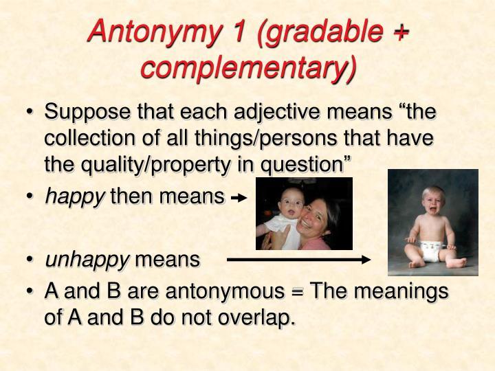 Antonymy 1 (gradable + complementary)