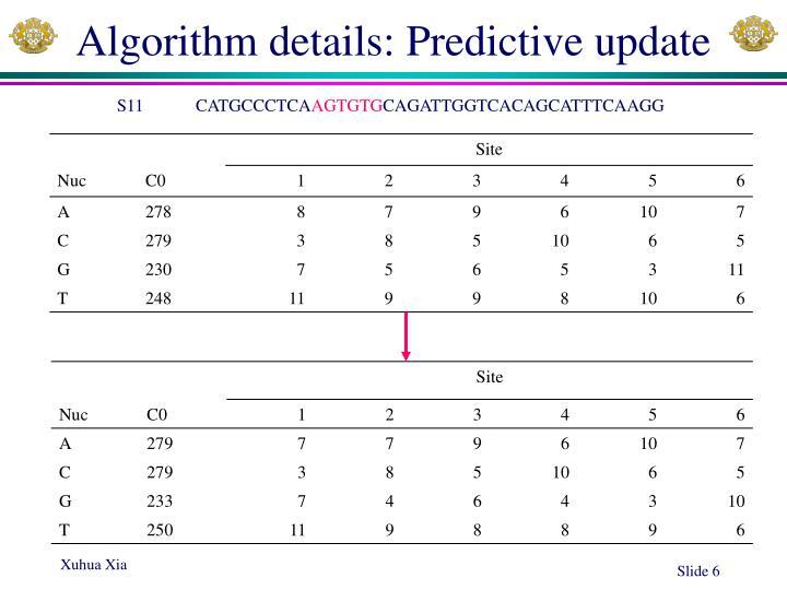 Algorithm details: Predictive update