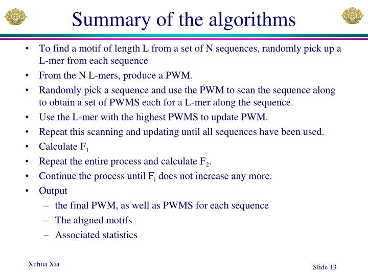 Summary of the algorithms
