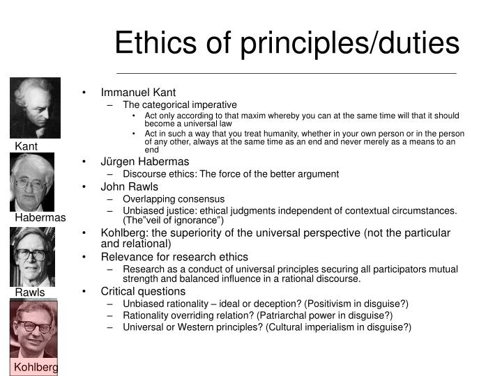 Ethics of principles/duties