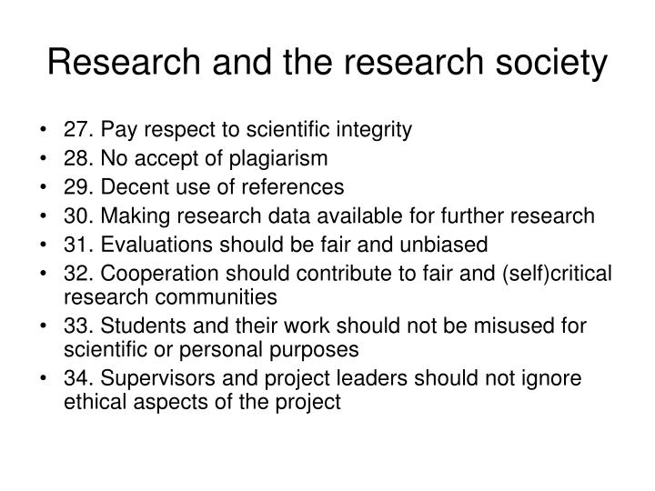 Research and the research society