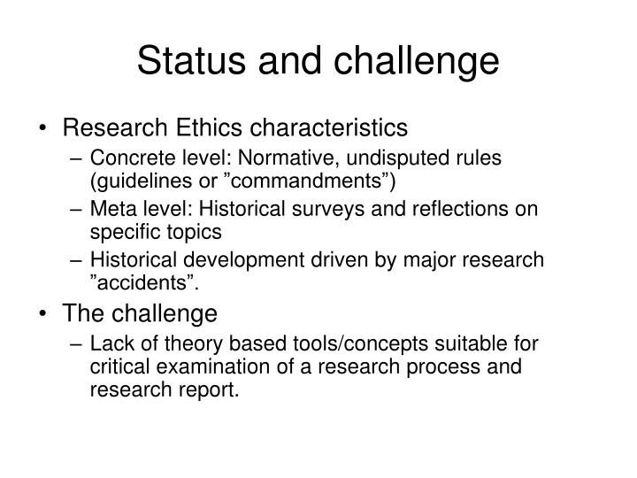 Status and challenge