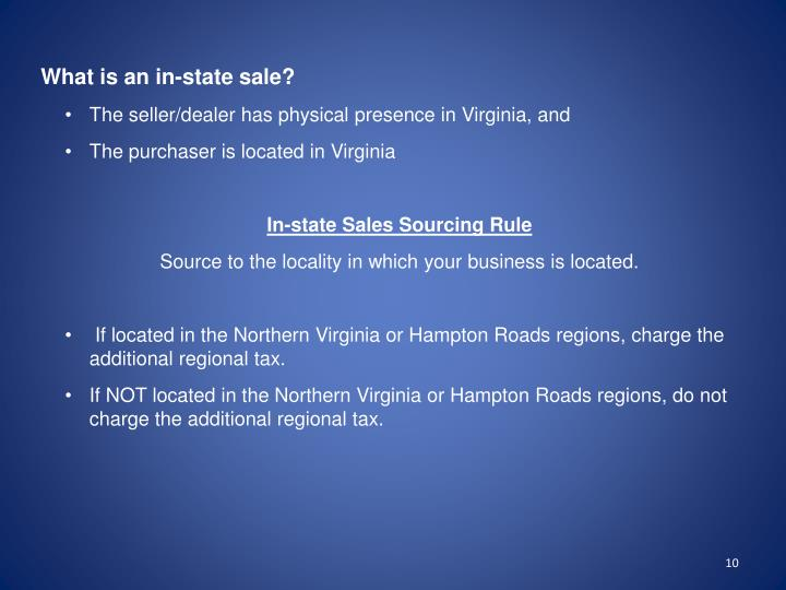 What is an in-state sale?