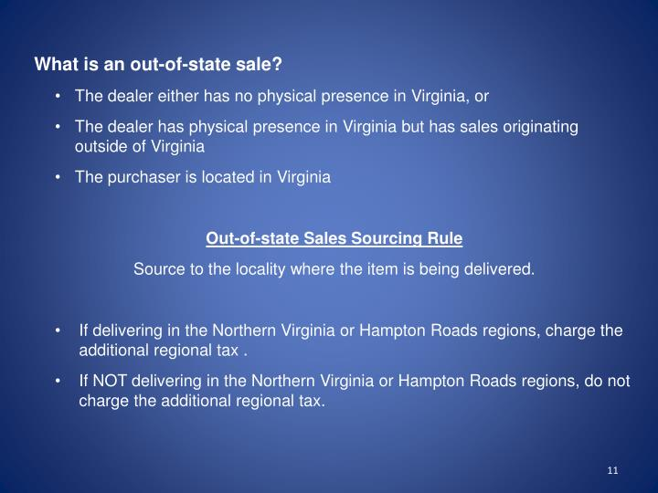 What is an out-of-state sale?
