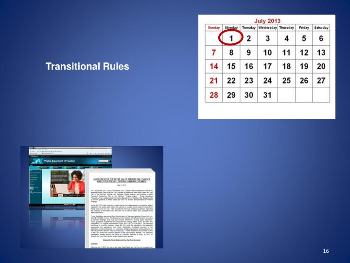 Transitional Rules