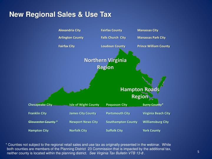 New Regional Sales & Use Tax