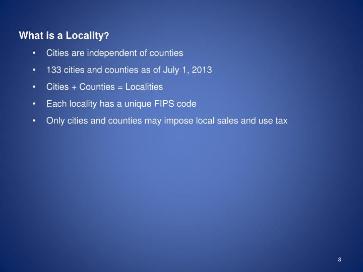 What is a Locality