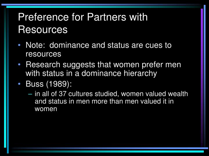 Preference for Partners with Resources