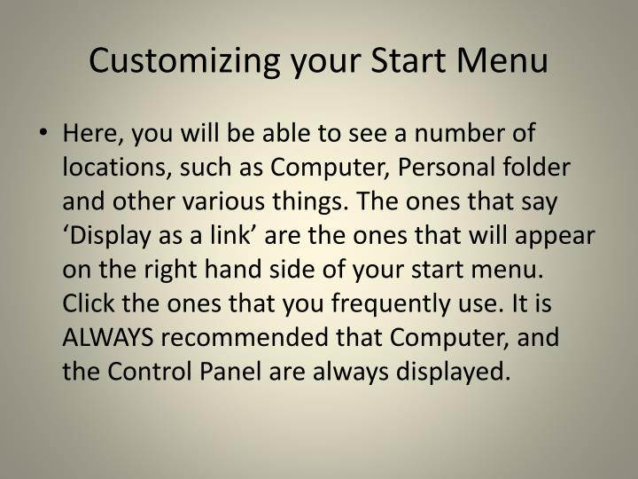 Customizing your Start Menu