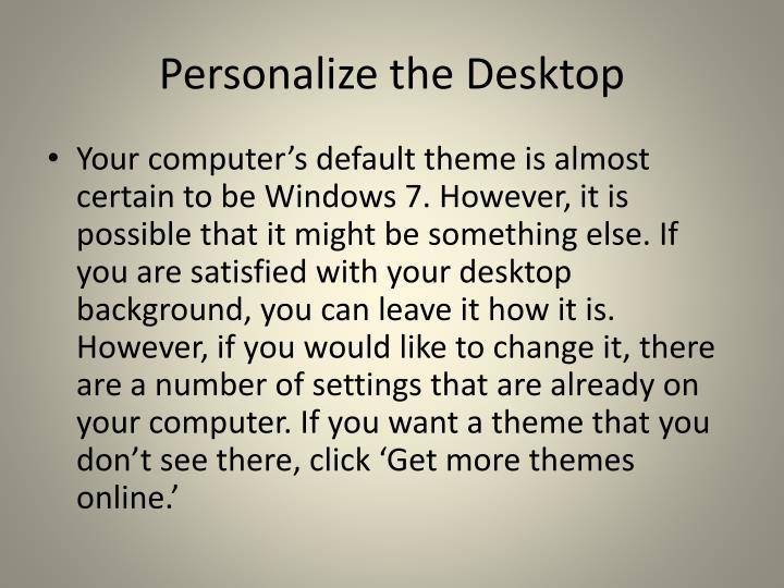 Personalize the Desktop
