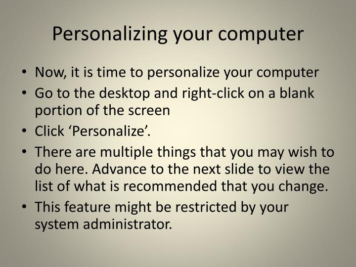 Personalizing your computer