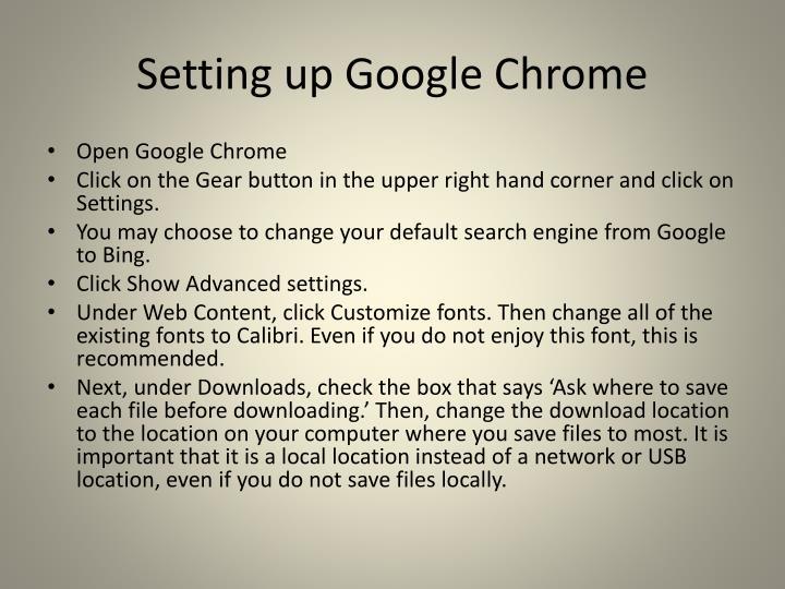 Setting up Google Chrome